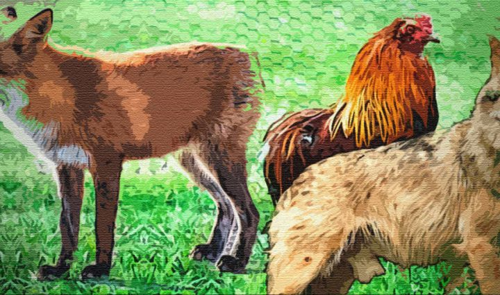 Волк, лиса и петух